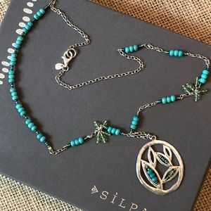 Silpada .925 Sterling Turquoise Leaf Bead Necklace